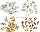 100Pcs Silver Gold Copper Plated Lobster Clasps Hooks 10/12mm