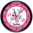 BUTTERFLY WALL CLOCK PERSONALIZED PINK GIRLS BEDROOM GIFT DECOR 10 INCH