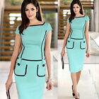 New Womens Elegant Short Sleeve Cocktail Party Evening Pencil Bodycon Dress