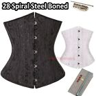 28 Spiral Steel Boned Ladies Brocade Waist Trainer Corset Underbust Waspie S-6XL
