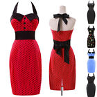 Hot 50's Polka Dot Halter Cotton Rockabilly Vintage Pinup Retro Short Prom Dress