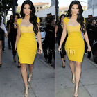 Charming Ladies Stylish Club Cap Sleeve Bodycon Pencil Dress Yellow New Arrival