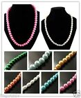 Fashion New White Pink Multi Colored Glass Pearl Jewelry Necklace 1 strand