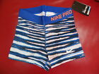 """WOMENS NIKE 3"""" PRO CORE COMPRESSION TIGER SHORTS- BLUE -BNWT- XS,S NEW FOR 2014"""