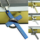 Unisex Cool Punk Stainless Steel Bible Cross Ring Pendant Necklace Gift Fash