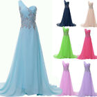 Beaded One Shoulder Bridesmaid Prom Womens Formal Homecoming Party Pageant Dress
