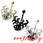 316L Stainless Steel Crystal Spider Flower Button Navel Belly Ring Bar Barbell
