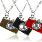 Retro Vintage Bronze Rhinestones Camera Pendant Necklace Red & Black & Coffee