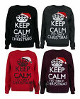 Womens Keep Clam its Only Xmas Print Sweatshirt Jumper Pullover Sweater 6-12