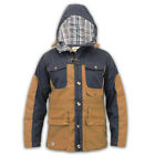 Mens Vintage Fisherman Jacket Casual Hooded Top With Navy Twill Button Hood