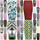 Women Midi Skirt Stretch High Waist Printed Pencil Bodycon Wiggle Tube