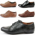 LADIES WOMENS BLACK FLAT SMART VINTAGE LACE UP OXFORD PUMPS BROGUES SHOES SIZE
