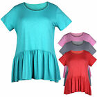 Womens Ladies Plus Size Short Sleeve Frill Hem Peplum Tunic Top