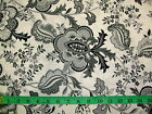 HENRY GLASS - BLACK, WHITE & CURRANT - LARGE JACOBEAN FLORAL WHITE COTTON FABRIC