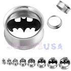 1Pair Stainless Steel Batman Symbol Screw Tunnels Ear Plugs Expander Stretcher