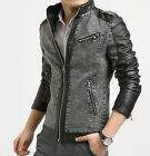 Hot Mens Slim Fit Grey PU Leather Slide Zip Jean Jacket Denim Stand Collar Coats