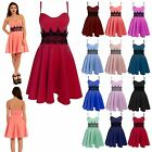 Womens Ladies Sleeveless Strappy Waist Lace Flared Franki Skater Dress Plus Size