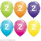 Qualatex 11'' Aged 2 Birthday Latex Balloons Tropical Colours Helium or Air Fill