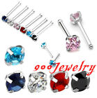 20ga Stainless Steel CZ Crystal 3mm Gem Nose Ring Bar Stud Barbell Piercing