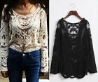 Sexy Women Semi Sheer Sleeve Embroidery Floral Lace Crochet Tee T shirt Top J