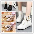 Chic Girl Canvas Flat Ankle School Boots Zipper Buckle Rivet Training Sneaker LJ