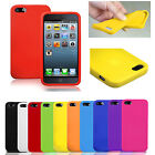 NEW PLAIN SOFT SILICONE GEL RUBBER CASE COVER SKIN BLACK BLUE FOR IPHONE 5 5S