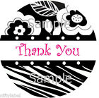round label printing - BLACK & WHITE FLORAL WITH ZEBRA PRINT THANK YOU STICKER LABELS - LASER PRINTED