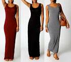 New Ladies Maxi Vest Dress Summer Jersey Bodycon Sleeveless Long Skirt Size 8-16