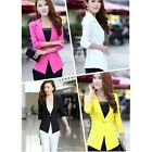 Women Slim Candy Color Three Quarter Sleeve One Button Coat Jacket Blazer Suit