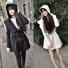 Autumn Korean Style Women Hooded Loose Overcoat Trench Coat Jacket Outerwear
