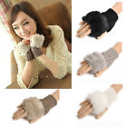 Women Faux Rabbit Fur Hand Wrist Warmer Knitted Fingerless Gloves Cute Top Sales