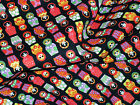0.5M Black RUSSIAN DOLLS Print COTTON Fabric for Crafts Quilting Sewing