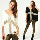 Women Punk Rock Shiny Sequin Cross Batwing Sleeve Loose Cape T-shirt Blouse Top