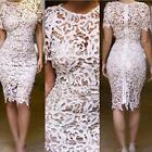 Sexy Ladies Hollow Out Lace Floral Embroidery Bodycon Pencil Dress Party Dress