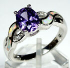 Amethyst & White Fire Opal Inlay 925 Sterling Silver Ring size 6-9