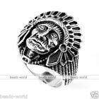 316L Stainless Steel Men Native Indian Chief Finger Ring Punk Gift US 9/10/11/12