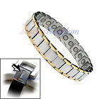 MENS 2 TONE MAGNETIC HEALTH TITANIUM GOLF BRACELET T20