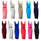 NEW WOMENS RACER BACK SCOOP NECK VEST TOP BELTED JERSEY MIDI DRESS SIZE 8-14
