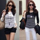 Women Slim Striped Crew Neck Long Sleeve T-shirt Tee Blouse Sweatshirt Pullover