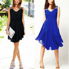 women Sleeveless Pleat Skirt Elastic Waist Skirt Cocktail Mini Dress Party