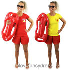 LADIES LIFEGUARD T-SHIRT FANCY DRESS COSTUME YELLOW OR RED WOMENS HEN PARTY