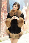 100% Real Genuine Rex Rabbit Fur Raccoon Fur Collar Coat Jacket Winter Warm Gift