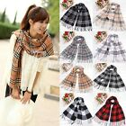 Plaid Classics Checker Long Scarf Soft Wrap Shawl Stole Women Men Large Size
