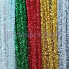 "Tinsel Craft Stems Pipe Cleaners 12"" 30cm Choose Colour and Pack Size Free Post"