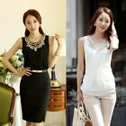Women Chiffon Front Golden Sequin Embellished Sleeveless Blouse Tank Top Vest