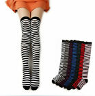 Ladies Stripe Stripy Striped Over The Knee Thigh High Long Socks 4 Colours Sox