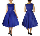 Chicstar Royal Blue Satin Sleeveless Belted Dress Rock and Roll Swing Dance