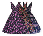 CLASSIC 50'S VINTAGE RETRO FULL CIRCLE WINTER FLORAL PARTY TEA DRESS NEW 10 - 20