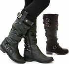 WOMENS LADIES FLAT HEEL KNEE OVER THE CALF HIGH BOOTS BLACK LEATHER STYLE SIZE