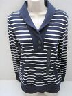 NEW BANANA REPUBLIC Women Navy Striped Shawl Collar Ribbed Pullover XS,S,XL NWT